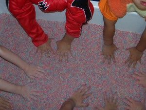 Colored Rice in the Sensory Table